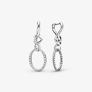 Pandora Oval Knotted Heart Drop Earrings Sterling